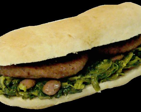 Hamburger Di Castrato Con Rape e Fagioli