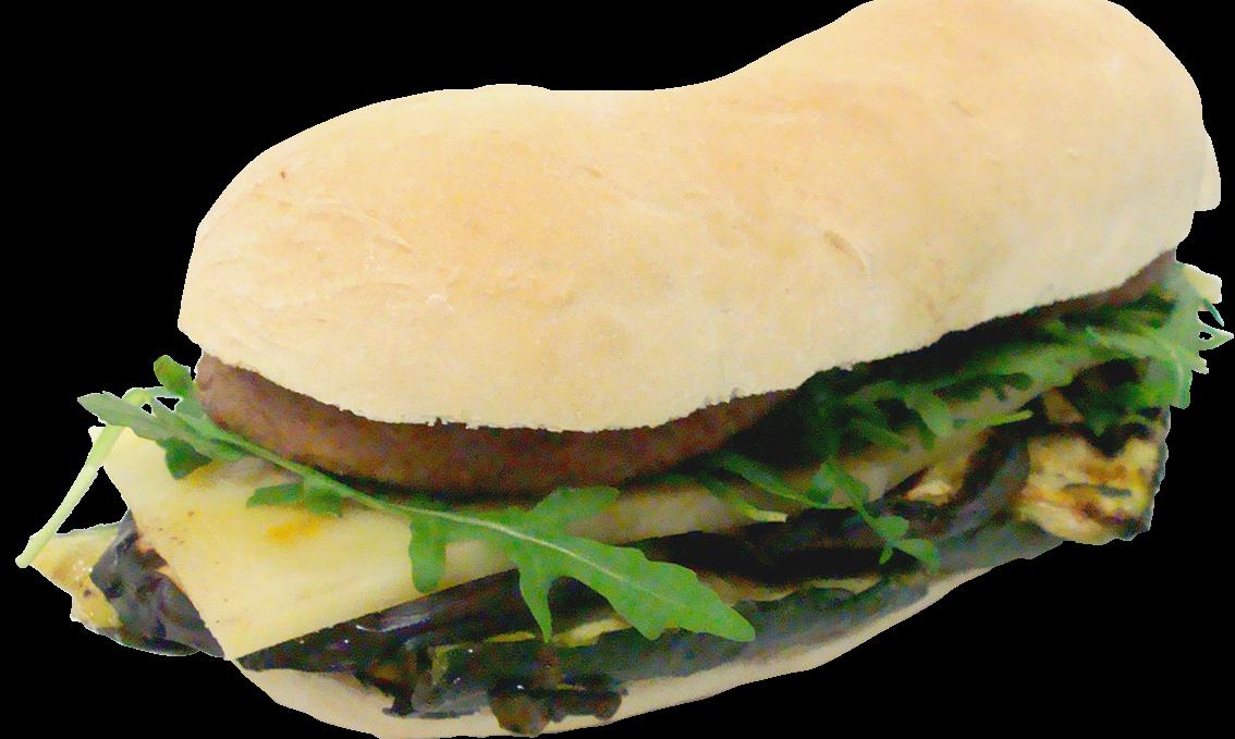 Hamburger Di Castrato Con Melanzane, Zucchine, Formaggio e Rucola